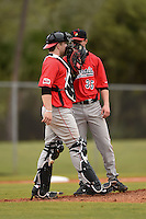 Illinois State Redbirds catcher Blake Molitor (42) talks with pitcher Jacob Hendren (35) during a game against the Georgetown Hoyas on March 7, 2015 at North Charlotte Regional Park in Port Charlotte, Florida.  Illinois State defeated Georgetown 2-1.  (Mike Janes/Four Seam Images)