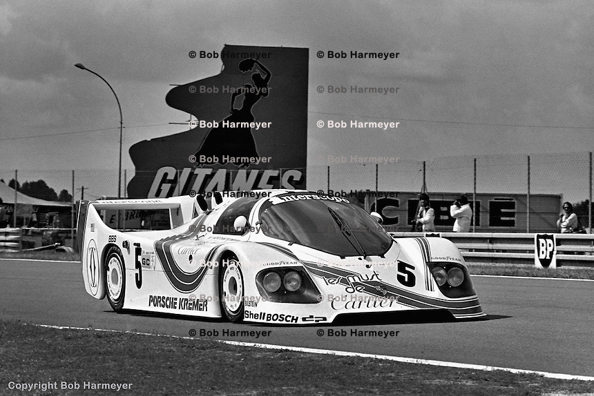 LE MANS, FRANCE: The Porsche CK5 01 of Bill Whittington, Danny Ongais and Ted Field  is driven during practice for the 24 Hours of Le Mans on June 20, 1982, at Circuit de la Sarthe in Le Mans, France.