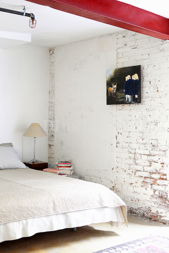 brick wall in the bedroom