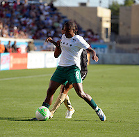 Red Stars midfielder Formiga (8) holds off FC Gold Pride forward Marta (10).  The FC Gold Pride defeated the Chicago Red Stars 3-2 at Toyota Park in Bridgeview, IL on August 22, 2010