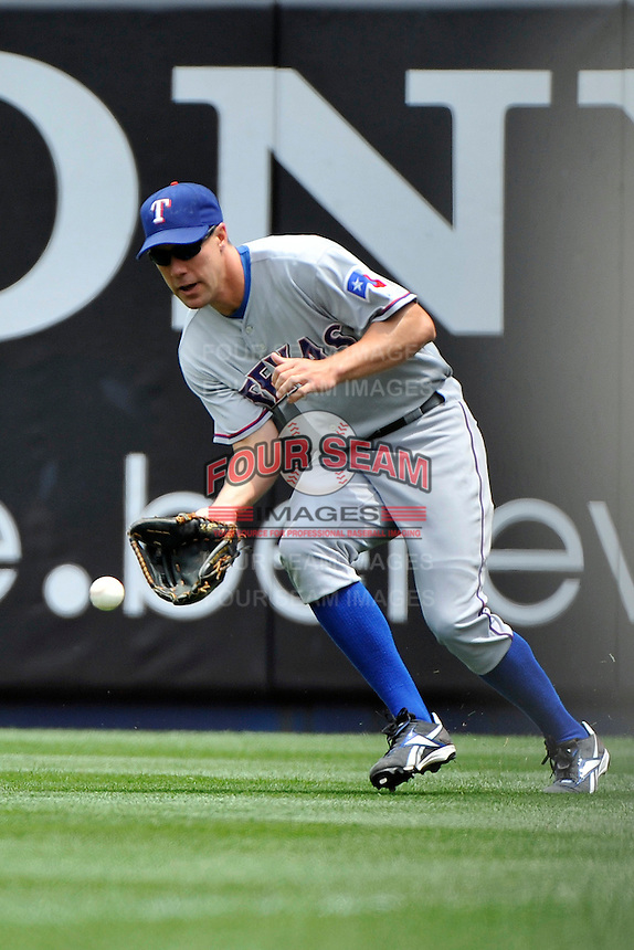 Texas Rangers outfielder  David Murphy #7 during a game against the New York Yankees at Yankee Stadium on June 16, 2011 in Bronx, NY.  Yankees defeated Rangers 3-2.  Tomasso DeRosa/Four Seam Images