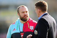 Mark Lambert of Harlequins speaks with Stuart Hooper of Bath Rugby prior to the match. Aviva Premiership match, between Bath Rugby and Harlequins on February 18, 2017 at the Recreation Ground in Bath, England. Photo by: Patrick Khachfe / Onside Images
