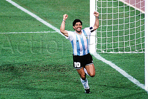 03.07.1990  Naples, Italy Argentina's Diego  Maradona celebrates scoring in the penalty shoot out in the Italia 90 World Cup semi final in the Stadio San Paolo, Naples...Italy went on to win on penalties
