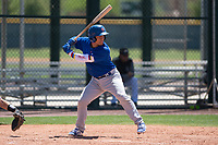 Chicago Cubs catcher Henderson Perez (8) at bat during an Extended Spring Training game against the Colorado Rockies at Sloan Park on April 17, 2018 in Mesa, Arizona. (Zachary Lucy/Four Seam Images)