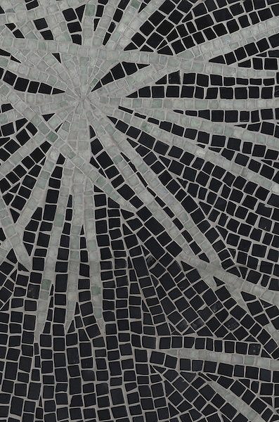 Name: Ikebana<br /> Style: Contemporary<br /> Product Number: CB0824<br /> Description: Ikebana in Ming Green, Nero Marquina (hct)<br /> -James Duncan for New Ravenna Mosaics
