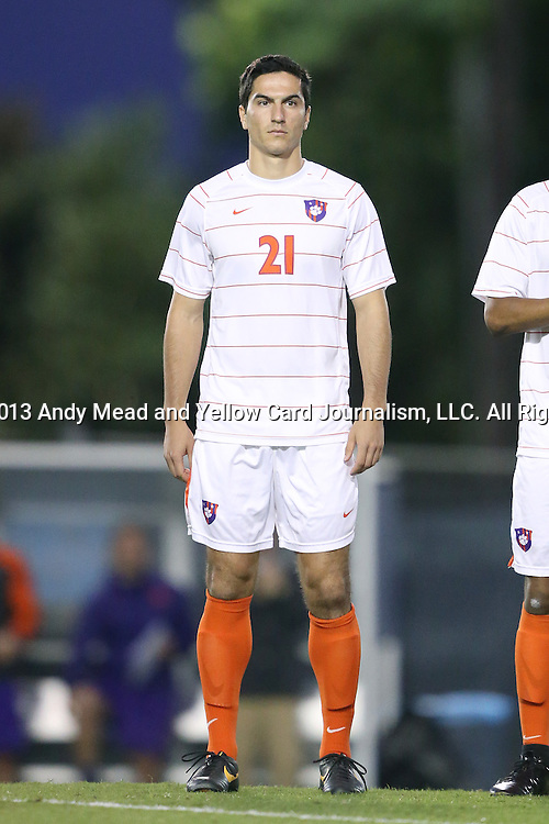 08 October 2013: Clemson's Ara Amirkhanian. The University of North Carolina Tar Heels hosted the Clemson University Tigers at Fetzer Field in Chapel Hill, NC in a 2013 NCAA Division I Men's Soccer match. Clemson won the game 2-1 in overtime.