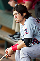 Adam Heether (28) of the Arkansas Travelers sits in the dugout during a game against the Springfield Cardinals at Hammons Field on May 8, 2012 in Springfield, Missouri. (David Welker/ Four Seam Images)