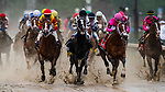 LOUISVILLE, KENTUCKY - MAY 04: The field for the Kentucky Derby lead by eventual winner Maximum Security races at Churchill Downs in Louisville, Kentucky on May 04, 2019. Evers/Eclipse Sportswire/CSM