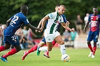 HAREN - Voetbal, FC Groningen - SM Caen, voorbereiding seizoen 2018-2019, 04-08-2018, FC Groningen speler Jesper Drost met Adama Nbengue