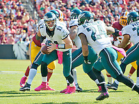 Philadelphia Eagles quarterback Carson Wentz (11) looks to hand-off the ball to running back Ryan Mathews (24) in the first quarter against the Washington Redskins at FedEx Field in Landover, Maryland on Sunday, October 16, 2016.<br /> Credit: Ron Sachs / CNP /MediaPunch