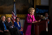Former Senator Elizabeth Dole, speaks during a congressional Gold Medal ceremony for former Senator Bob Dole, at the U.S. Capitol, in Washington D.C., U.S., on Wednesday, Jan. 17, 2018. From left: Senate Majority Leader Mitch McConnell, a Republican from Kentucky, Senate Minority Leader Chuck Schumer, a Democrat from New York, and House Minority Leader Nancy Pelosi, a Democrat from California. Photographer: Al Drago/Bloomberg<br /> Credit: Al Drago / Pool via CNP