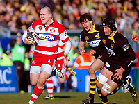 Mike Tindall sets off on a run deep into Wasps territory. Guinness Premiership match between London Wasps and Gloucester on March 7, 2010 at Adams Park in High Wycombe, England. [Mandatory Credit: Patrick Khachfe/Onside Images]