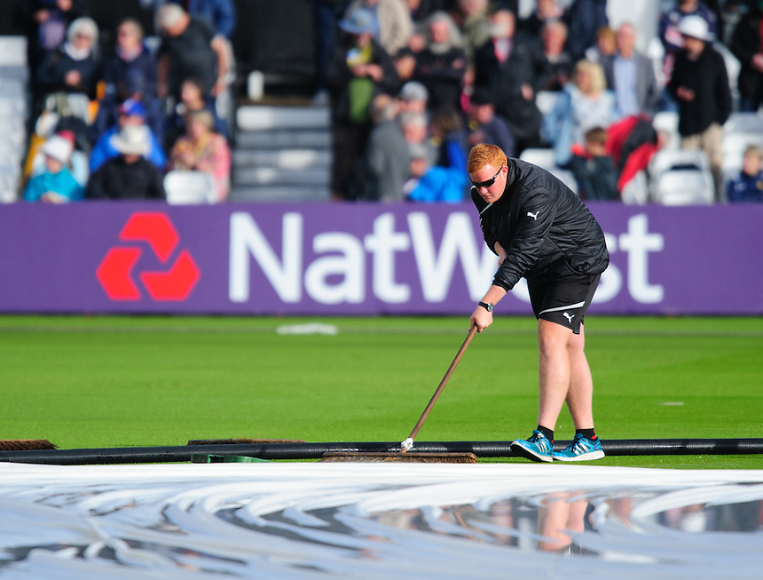 Nottinghamshire ground staff come out to try and get the pitch ready for play after a heavy downpour of rain delayed the start of the match<br /> <br /> Photographer Chris Vaughan/CameraSport<br /> <br /> County Cricket - NatWest T20 Blast - Notts Outlaws v Durham Jets - Friday 1st July 2016 - Trent Bridge - Nottingham<br /> <br /> &copy; CameraSport - 43 Linden Ave. Countesthorpe. Leicester. England. LE8 5PG - Tel: +44 (0) 116 277 4147 - admin@camerasport.com - www.camerasport.com