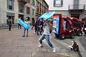 Dynamic advertising at Tortona street during Fuorisalone 2016, in Milan, April 15, 2016. &copy; Carlo Cerchioli<br /> <br /> Pubblicit&agrave; dinamica in via Tortona durante il Fuorisalone 2016, Milano 15 aprile 2016.