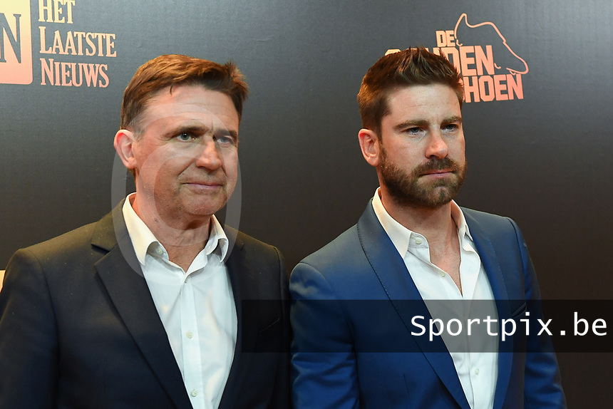 20200115 - PUURS , BELGIUM : Eric van Looy and  Kevin Janssens pictured during the 66 men edition of the Goldens Shoe Award ceremony and the 4th Women's edition , Wednesday 15 January 2020 , in Puurs at the Studio 100 Pop Up studio .     The Golden Shoe , Gouden Schoen , Soulier d'Or is an award for the best soccer playerof the Belgian Jupiler League championship during the year 2019. The female edition is the 4th one in Belgium . PHOTO DIRK VUYLSTEKE / Sportpix.be