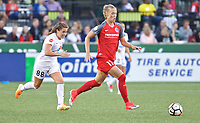 Portland, OR - Wednesday June 28, 2017: Dagný Brynjarsdóttir, Alexa Newfield during a regular season National Women's Soccer League (NWSL) match between the Portland Thorns FC and FC Kansas City at Providence Park.