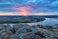 Petit Jean State Park, AR: Sunrise over the Arkansas River Valley from Stout Overlook