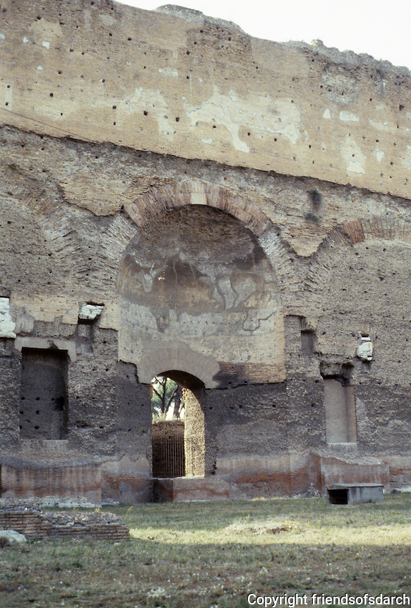 Italy: Rome--Baths of Caracalla, western outer wall. Photo '83.