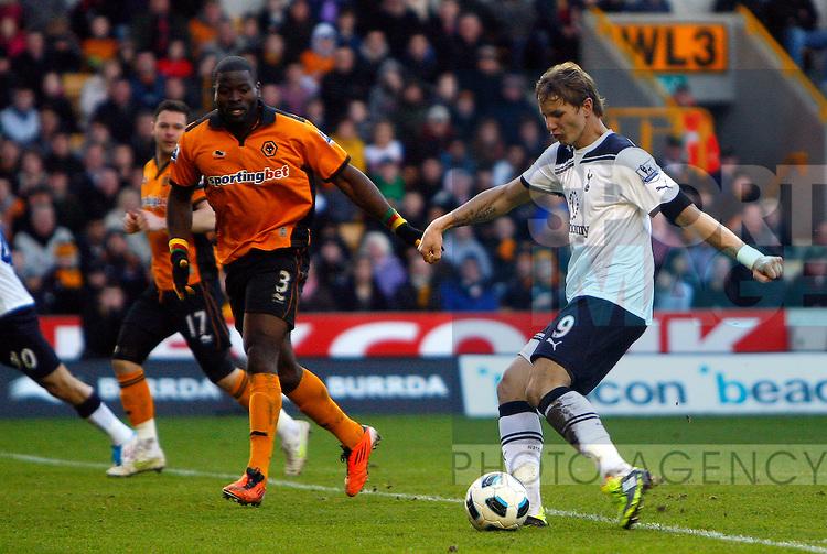 Roman Pavlyuchenko of Tottenham Hotspur scores his side's third goal