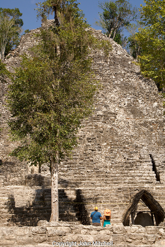 La Iglesia or Church pyramid in the Coba Group at the Mayan ruins of Coba, Quintana Roo, Mexico..