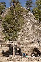 La Iglesia or Church pyramid in the Coba Group at the Mayan ruins of Coba, Quintana Roo, Mexico..