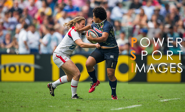 Canada vs Japan during the HSBC Women Sevens Wold Series Final match as part of the Cathay Pacific / HSBC Hong Kong Sevens at the Hong Kong Stadium on 27 March 2015 in Hong Kong, China. Photo by Victor Fraile / Power Sport Images