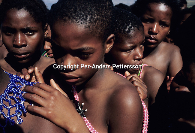 NONGOMA, SOUTH AFRICA - SEPTEMBER 11: Unidentified maidens line up to dance at the Royal Palace during the annual Reed Dance on September 11, 2004 in Nongoma in rural Natal, South Africa. About 20.000 maidens from all over South Africa arrived to dance for Zulu King Goodwill Zwelethini at the Enyokeni Royal Palace in Kwa-Nongoma about 350 kilometers from Durban. The girls come to the kingdom to declare their virginity and the ceremony encourages girls and young women to abstain from sexual activity to curb the spread of HIV-Aids..(Photo: Per-Anders Pettersson).....