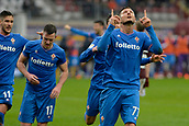 18th March 2018, Stadio Olimpico di Torino, Turin, Italy; Serie A football, Torino versus Fiorentina; Cyril Thereau dedicates his goal to their former captain Davide Astori and celebrates after scoring the penalty in the 94th min for the 1-2 win for Fiorentina