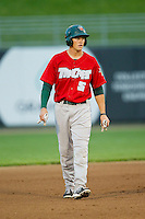 Corey Adamson (5) of the Fort Wayne TinCaps takes his lead off of second base against the Lansing Lugnuts at Cooley Law School Stadium on June 5, 2013 in Lansing, Michigan.  The TinCaps defeated the Lugnuts 8-5.  (Brian Westerholt/Four Seam Images)