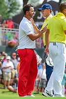 Scott Piercy (USA) and Jordan Spieth (USA) shake hands following round 4 of the Dean &amp; Deluca Invitational, at The Colonial, Ft. Worth, Texas, USA. 5/28/2017.<br /> Picture: Golffile | Ken Murray<br /> <br /> <br /> All photo usage must carry mandatory copyright credit (&copy; Golffile | Ken Murray)