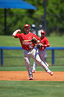 Palm Beach Cardinals third baseman Allen Staton (33) throws to first during a game against the Charlotte Stone Crabs on April 10, 2016 at Charlotte Sports Park in Port Charlotte, Florida.  Palm Beach defeated Charlotte 4-1.  (Mike Janes/Four Seam Images)