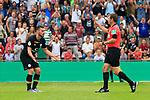 11.08.2019, Stadion Lohmühle, Luebeck, GER, DFB-Pokal, 1. Runde VFB Lübeck vs 1.FC St. Pauli<br /> <br /> DFB REGULATIONS PROHIBIT ANY USE OF PHOTOGRAPHS AS IMAGE SEQUENCES AND/OR QUASI-VIDEO.<br /> <br /> im Bild / picture shows<br /> Rote Karte fuer Dimitrios Diamantakos (FC St. Pauli) von Schiedsrichter Frank Willenborg<br /> <br /> Foto © nordphoto / Tauchnitz