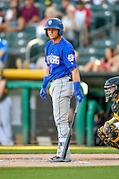 Gavin Cecchini (1) of the Las Vegas 51s at bat against the Salt Lake Bees in Pacific Coast League action at Smith's Ballpark on June 19, 2016 in Salt Lake City, Utah. The 51s defeated the Bees 8-1. (Stephen Smith/Four Seam Images)