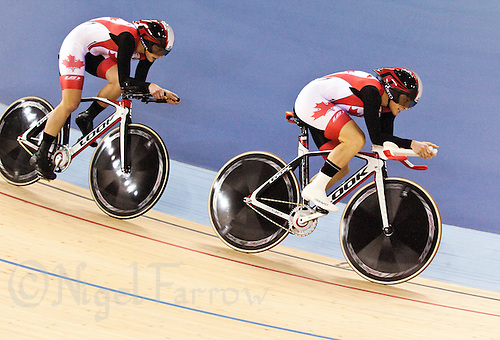 17 FEB 2012 - LONDON, GBR - Canada's women on their way to taking silver in the women's Team Pursuit final at the UCI Track Cycling World Cup, and London Prepares test event for the 2012 Olympic Games, in the Olympic Park Velodrome in Stratford, London, Great Britain (PHOTO (C) 2012 NIGEL FARROW)