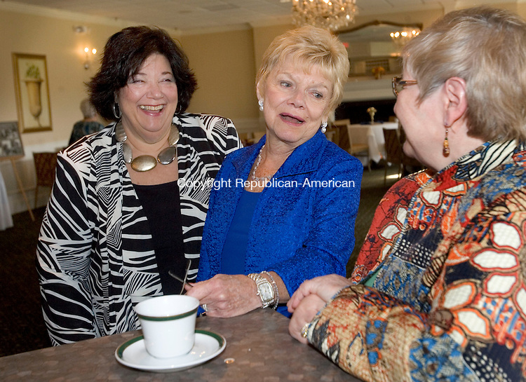 WATERBURY CT. 19 October 2013-101913SV08-From left, Trish Torello of Prospect, Barbara Davitt of WATR and Paula Griffin of Waterbury share a laugh at the Country Club of Waterbury in Waterbury Saturday. There was an open house and live WATR radio broadcast at the Country Club to honor Barbara Davitt for 50 years in broadcasting.<br /> Steven Valenti Republican-American