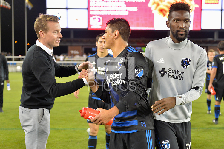 San Jose, CA - Wednesday June 28, 2017: Chris Leitch, Nick Lima, Shaun Francis during a U.S. Open Cup Round of 16 match between the San Jose Earthquakes and the Seattle Sounders FC at Avaya Stadium.