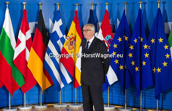 Belgium, Brussels - June 24, 2018 -- Informal working meeting on migration and asylum issues convened by Jean-Claude JUNCKER, President of the European Commission, here waiting to welcome ... -- Photo © HorstWagner.eu