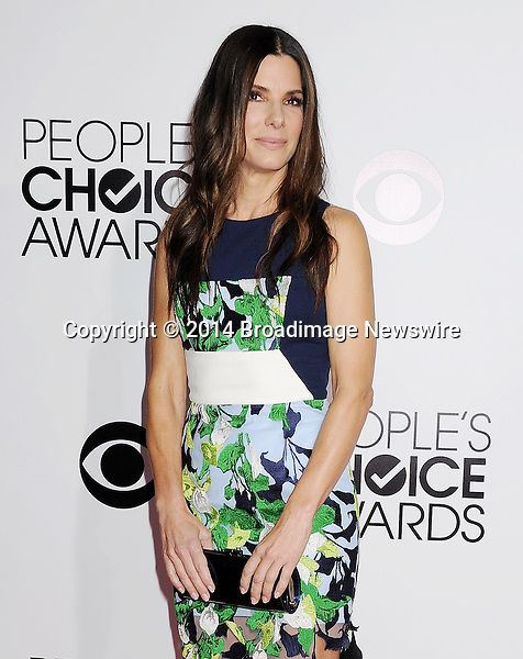 Pictured: Sandra Bullock<br /> Mandatory Credit &copy; Gilbert Flores /Broadimage<br /> 2014 People's Choice Awards <br /> <br /> 1/8/14, Los Angeles, California, United States of America<br /> Reference: 010814_GFLA_BDG_309<br /> <br /> Broadimage Newswire<br /> Los Angeles 1+  (310) 301-1027<br /> New York      1+  (646) 827-9134<br /> sales@broadimage.com<br /> http://www.broadimage.com