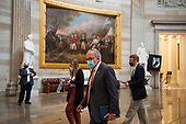 United States Senate Minority Leader Chuck Schumer (Democrat of New York), makes his way through the US Capitol Rotunda for a meeting with House Speaker Nancy Pelosi, D-Calif., White House Chief of Staff Mark Meadows and US Treasury Secretary Steven Mnuchin regarding the COVID-19 economic stimulus package, at the US Capitol in Washington, DC., Thursday, August 6, 2020. <br /> Credit: Rod Lamkey / CNP
