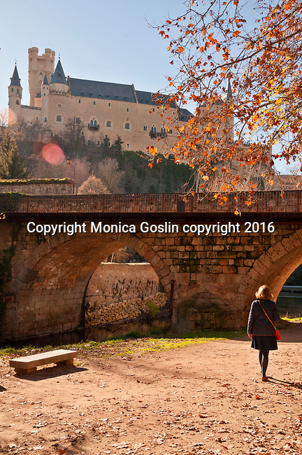 Alcazar, the picturesque castle, in Segovia, Spain as seen from below by the river and stone bridge