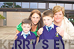 Ronan Galvin Killarney who will lose his special needs teacher in St Olivers NS Killarney due to Government cut backs in education with his mum Lorraine, nan Liz and brother Jason at the school on wednesday