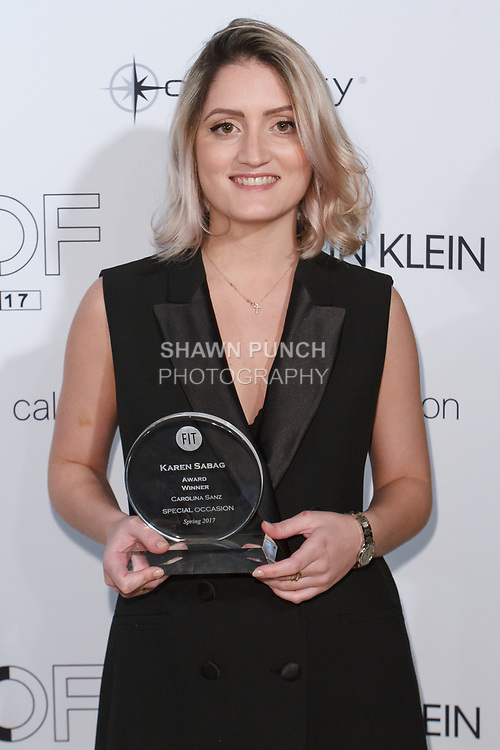 Graduating student Carolina Sanz, won the Karen Sabag Critic Award, during the Future of Fashion 2017 runway show at the Fashion Institute of Technology on May 8, 2017.