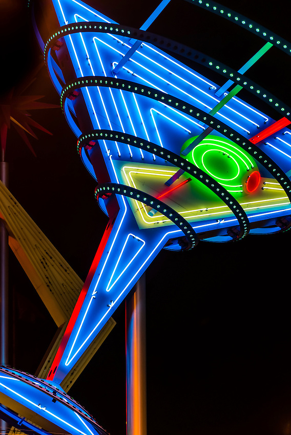 Martini glass neon sign, Downtown Las Vegas, Nevada USA.