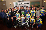 PR Manager for SKODA Events and Sponsorship Cathal Kealey with Drogheda Wheelers Club Chairperson Andrew Watters, Secretary Ger Campbell, Treasurer Seamus Domegan Members and youth members at the Launch of SKODA Ras na N'og 2017 held in The Thatch.        Photo: Jenny Matthews/pressphotos.ie