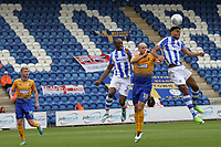 Mikael Mandron of Colchester United gets his head on the aerial ball to score the second goal for Colchester during Colchester United vs Mansfield Town, Sky Bet EFL League 2 Football at the Weston Homes Community Stadium on 7th October 2017