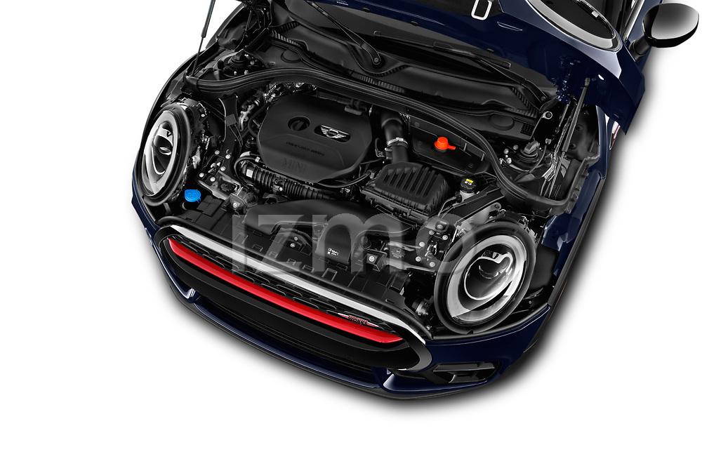 Car stock 2017 Mini Clubman John Cooper Works 5 Door Wagon engine high angle detail view