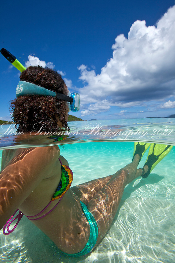 Underwater view of a snorkeler<br />