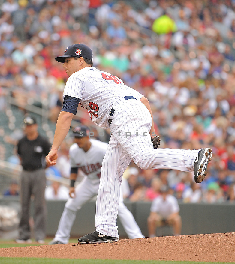 Minnesota Twins Tommy Milone (49) during a game against the Kansas City Royals on August 17, 2014 at Target Field in Minneapolis, MN. The Royals beat the Twins 12-6.