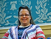 Kim Davis, county clerk for Rowan County, Kentucky, who gained international attention by defying a federal court order requiring that she issue marriage licenses to gay couples, awaiting the arrival of United States President Barack Obama who will deliver his final State of the Union Address in the US House Chamber in the US Capitol on Tuesday, January 12, 2016.<br /> Credit: Ron Sachs / CNP<br /> (RESTRICTION: NO New York or New Jersey Newspapers or newspapers within a 75 mile radius of New York City)