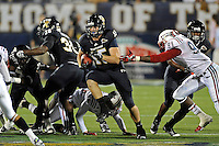 12 November 2011:  FIU tight end Colt Anderson (15) returns a short kickoff 49 yards to the 19 yard line in the third quarter as the FIU Golden Panthers defeated the Florida Atlantic University Owls, 41-7, to win the annual Shula Bowl game, at FIU Stadium in Miami, Florida.